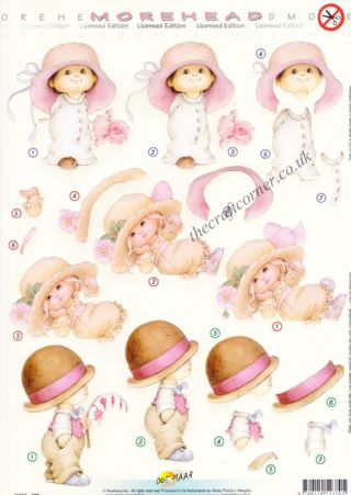 Morehead Children In Big Hats With Flowers 3D Die Cut Decoupage Sheet